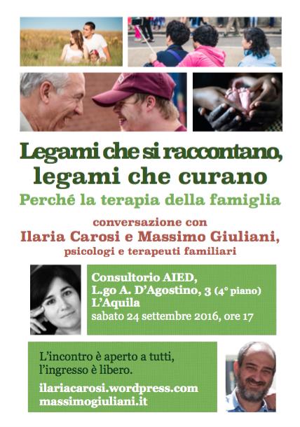 RINVIATO! Il 24 settembre 2016 a L'Aquila parliamo di terapia della famiglia